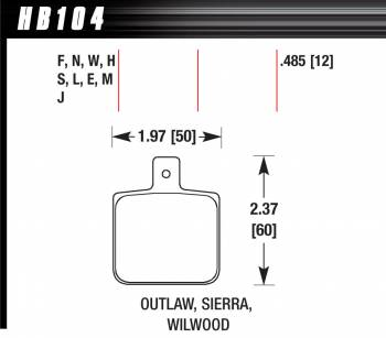 Hawk Performance - Hawk Performance Black Brake Pads - Fits Wilwood Dynalite Single, Outlaw 1000