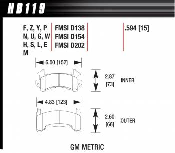 Hawk Performance - Hawk Performance Black Brake Pads - Fits Metric GM