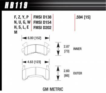 Hawk Performance - Hawk Performance HT-10 Brake Pads - Fits Metric GM
