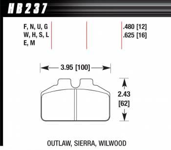 Hawk Performance - Hawk Performance Blue MT-4 Brake Pads - Fits Wilwood Dynalite Bridgbolt