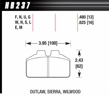 Hawk Performance - Hawk Performance Brake Pads - Fits Wilwood Dynalite Bridge Bolt Caliper - DTC-70 Compound
