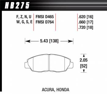 Hawk Performance - Hawk Performance HPS Compound Brake Pads High Torque Front Acura/Honda® 1990-2014 - Set of 4
