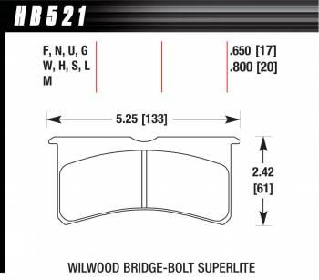 Hawk Performance - Hawk Performance DTC-60 Compound Brake Pads High Torque High Temperature Wilwood Superlite Bridgebolt Caliper - Set of 4