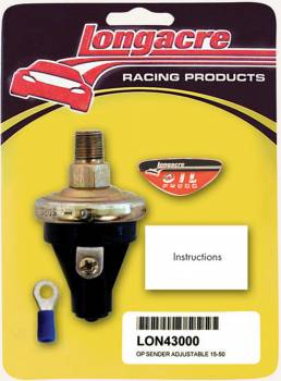 """Longacre Racing Products - Longacre 15-50 PSI Oil Pressure 1/8"""" NPT Sender Only"""