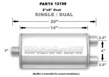"Magnaflow Performance Exhaust - MagnaFlow Satin Stainless Steel Muffler 3"" Inlet/Dual 2.5""Outlet, 14"" lenth"
