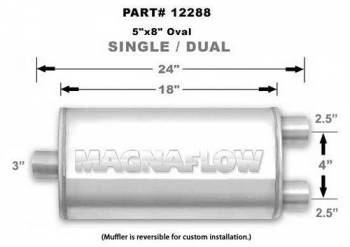"Magnaflow Performance Exhaust - MagnaFlow Satin Stainless Steel Muffler 3"" Inlet/Dual 2.5"" Outlet, 18"" length"