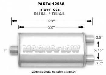 "Magnaflow Performance Exhaust - MagnaFlow Satin Stainless Steel Muffler 3"" Inlet/2.5"" Dual Outlet, 22"" Length"