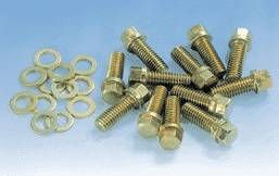 Milodon - Milodon Intake Manifold Bolts - Gold Iridite - Hex Head - SB/BB Chevy - SB/BB Chrysler