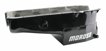 """Moroso Performance Products - Moroso SB Chevy Oil Pan - 1 Piece Rear Main Seal - w/ 1"""" Inspection Bung"""