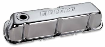 Moroso Performance Products - Moroso Stamped Steel Valve Covers - SB Ford - Chrome Plated - Ford 221-302 & 351W - Tall Design w/Baffles