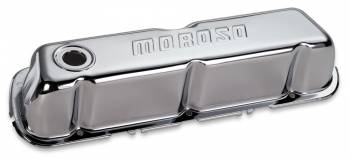 Moroso Performance Products - Moroso Stamped Steel Valve Covers - SB Ford - Chrome Plated - Ford 221-302 & 351W - Tall Design w/o Baffles