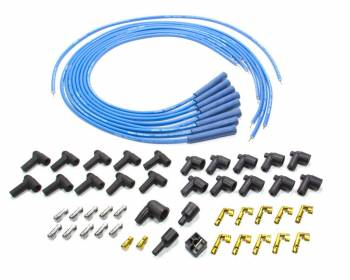 Moroso Performance Products - Moroso Blue Max Solid Core Racing Ignition Wire Set - 8 Cylinder Applications - Plug Terminals, Boots: Straight; Dist - Terminals, Boots: HEI & Non-HEI; Wire Color: Blue