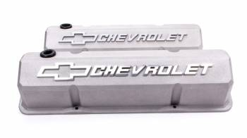 Proform Performance Parts - Proform Slant-Edge Valve Cover - Bow Tie Emblem - Cast Gray Crinkle