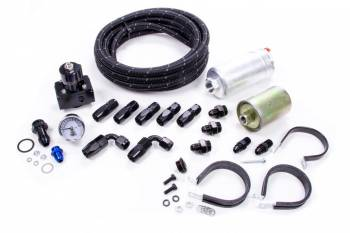 Quick Fuel Technology - Quick Fuel Technology QFI Fuel System Braided Nylon Hose/Filters/Fittings/Pump/Regulator 6 AN Black/Silver - Kit
