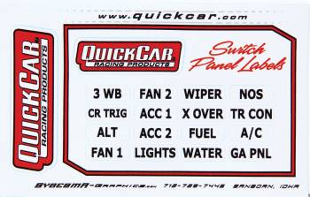 QuickCar Racing Products - QuickCar Switch Panel Stickers - Small Ignition Panels