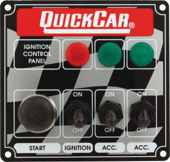 QuickCar Racing Products - QuickCar ICP01 Ignition Panel - Ignition Switch - 2 Accessory Switch w/ Start Button & 3 Pilot Lights