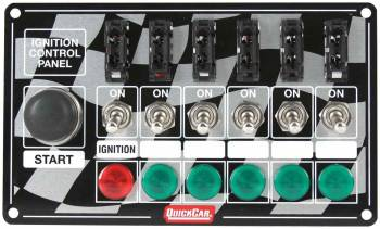 QuickCar Racing Products - QuickCar ICP20 Ignition Race Panel - Ignition Switch, Momentary Starter Button w/- 5-Accessory Switches - Lights - ATC Fused