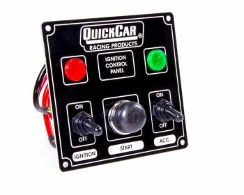 QuickCar Racing Products - QuickCar Ignition Control Panel With Single Accessory Switch - Warning Lights - Black