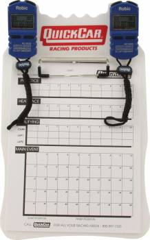QuickCar Racing Products - QuickCar Clipboard Timing System - White - (2) Robic SC505 Watches - Red/White/Blue
