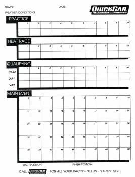 QuickCar Racing Products - QuickCar Time Organizer Sheets - 50 Lap (50 Pack)