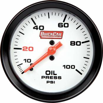 QuickCar Racing Products - QuickCar Extreme Oil Pressure Gauge w/ Built-In LED Warning Light - 2-5/8""