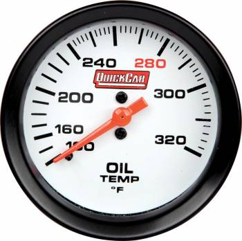 QuickCar Racing Products - QuickCar Extreme Oil Temp Gauge w/ Built-In LED Warning Light - 2-5/8""