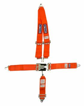"RJS Racing Equipment - RJS 5-Point Roll Bar Mount Harness System - Orange - 3"" Anti-Submarine Belt"