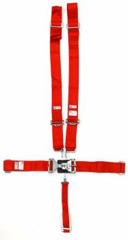 """RJS Racing Equipment - RJS 5-Point Harness System w/ 2"""" Anti-Sub Belt - Wrap Around - Red"""