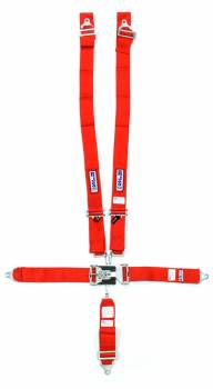 """RJS Racing Equipment - RJS 5-Point Restraint System - Individual Shoulder Harness - Wrap Around Mount - 3"""" Anti-Sub - Red"""