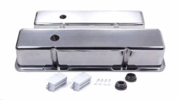 Racing Power - Racing Power Polished Aluminum Valve Covers - Tall - SB Chevy 58-86 Valve Covers - (1) Hole