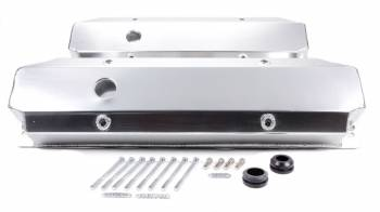 Racing Power - Racing Power Stock Height Valve Covers Hardware Breather Holes Fabricated Aluminum - Clear Anodize