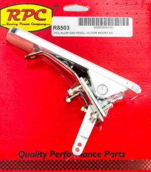 Racing Power - Racing Power Rectangle Pedal Assembly Gas Floor Mount Aluminum - Polished