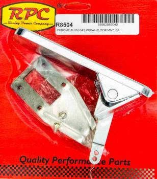 Racing Power - Racing Power Rectangle Pedal Assembly Gas Floor Mount Aluminum - Chrome