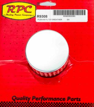Racing Power - Racing Power Co-Packaged Chrome Push In Breather w/o Shield 3in Tall Each