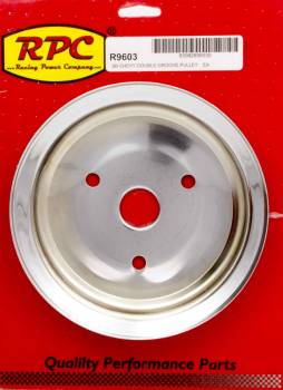 Racing Power - Racing Power Co-Packaged SBC 2GROOVE CRANK PULLEY SHORT PUMP CHROME