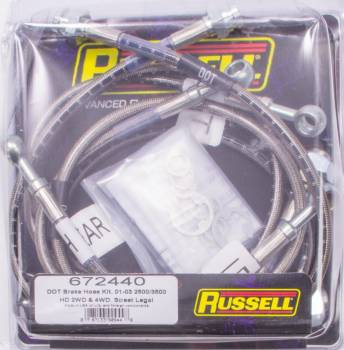 Russell Performance Products - Russell Performance Products Street Legal Brake Hose Kit DOT Approved Braided Stainless GM HD Truck 2001-06 - Kit