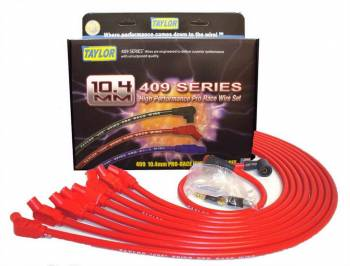 Taylor Cable Products - Taylor Cable Products 409 Pro Race Spark Plug Wire Set Spiral Core 10.4 mm Red - 135 Degree Plug Boots
