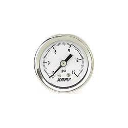 "XRP - XRP Liquid Filled Carburetor Fuel Line Pressure Gauge - 1-1/2"" Diameter - 1/8"" NPT Thread Size - 0-15 PSI"