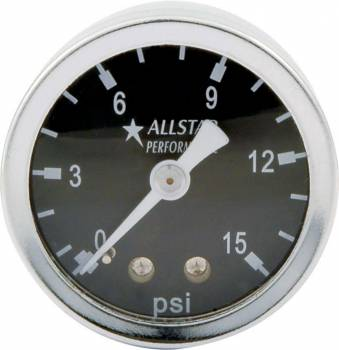 "Allstar Performance - Allstar Performance 0-15 PSI 1-1/2"" Gauge - Glycerin Filled"