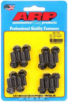 """ARP - ARP Header Bolt Kit - Black Oxide - Ford - 3/8"""" Diameter, .750"""" Under Head Length - Hex Head - (16 Pack)"""