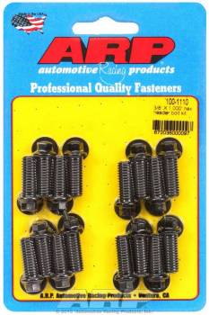 "ARP - ARP Black Oxide Header Bolt Kit - Hex - 3/8"" x 1.00"" Under Head Length (16 Pieces)"
