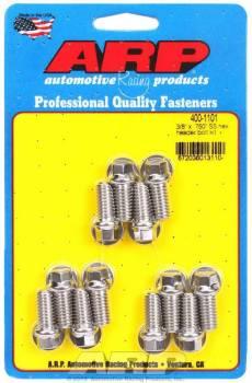 """ARP - ARP Stainless Steel Header Bolt Kit - SB Chevy - 3/8"""" Diameter, .750"""" Under Head Length - Hex Head - (12 Pack)"""