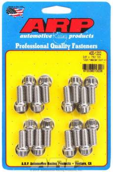 "ARP - ARP Stainless Steel Header Bolt Kit - Ford - 3/8"" Diameter, .750"" Under Head Length - 12 Pt. Head - (16 Pack)"