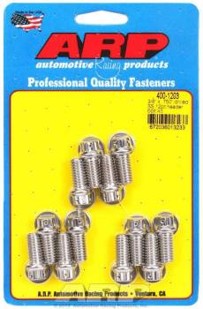 "ARP - ARP Stainless Steel Header Bolt Kit - Drilled - SB Chevy - 3/8"" Diameter, .750"" Under Head Length - 12 Pt. Head - (12 Pack)"