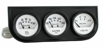 Auto Meter - Auto Gage White Oil/Volt/Water Black Steel Console - 2-1/16 in.