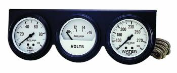 Auto Meter - Auto Gage Mechanical White Oil / Volt / Water Black Console - 2-5/8 in.