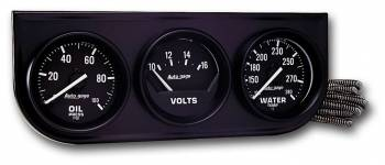 Auto Meter - Auto Gage Oil / Volt / Water - Black - Console - 2-1/16 in.