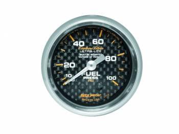 "Auto Meter - Auto Meter Carbon Fiber 2-1/16"" Fuel Pressure Gauge 0-100 psi"