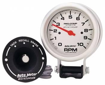 "Auto Meter - Auto Meter 10,000 RPM Silver Pro-Comp Memory Tachometer - 3-3/4"" w/ Memory"