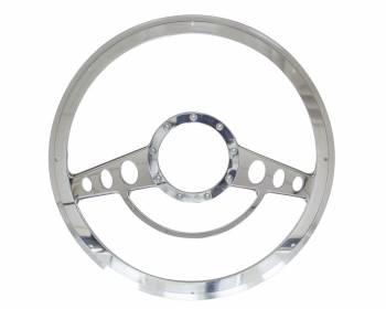 Billet Specialties - Billet Specialties Half Wrap Steering Wheel - Classic - Polished - 2-Spoke - 14 in. Diameter